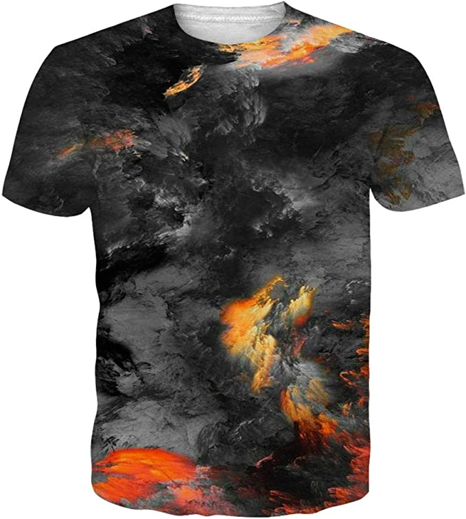 GAENM Red Scratches Childrens 3D Summer Short Sleeve Printing T-Shirts