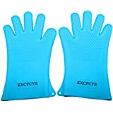 Heat Resistant Silicone Gloves Kitchen Bakeware Oven Mitts Pot Holders Silicone Cooking BBQ Pot Holder Mitt Grill Gloves ( 1 pair) (Blue)
