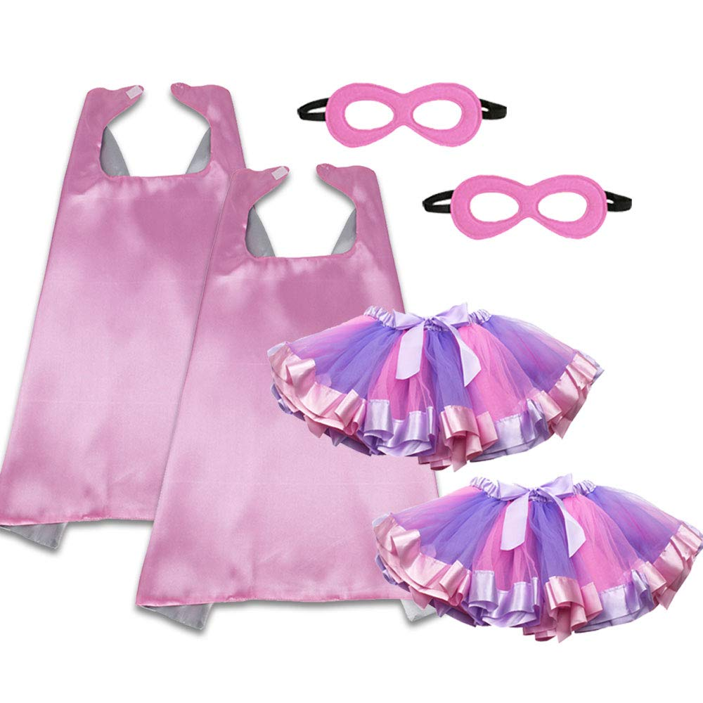 Pink Superhero Capes Masks and Tutu Skirts for Toddler Girls Princess Dress Up Birthday Party Costume Set, 6 Pieces