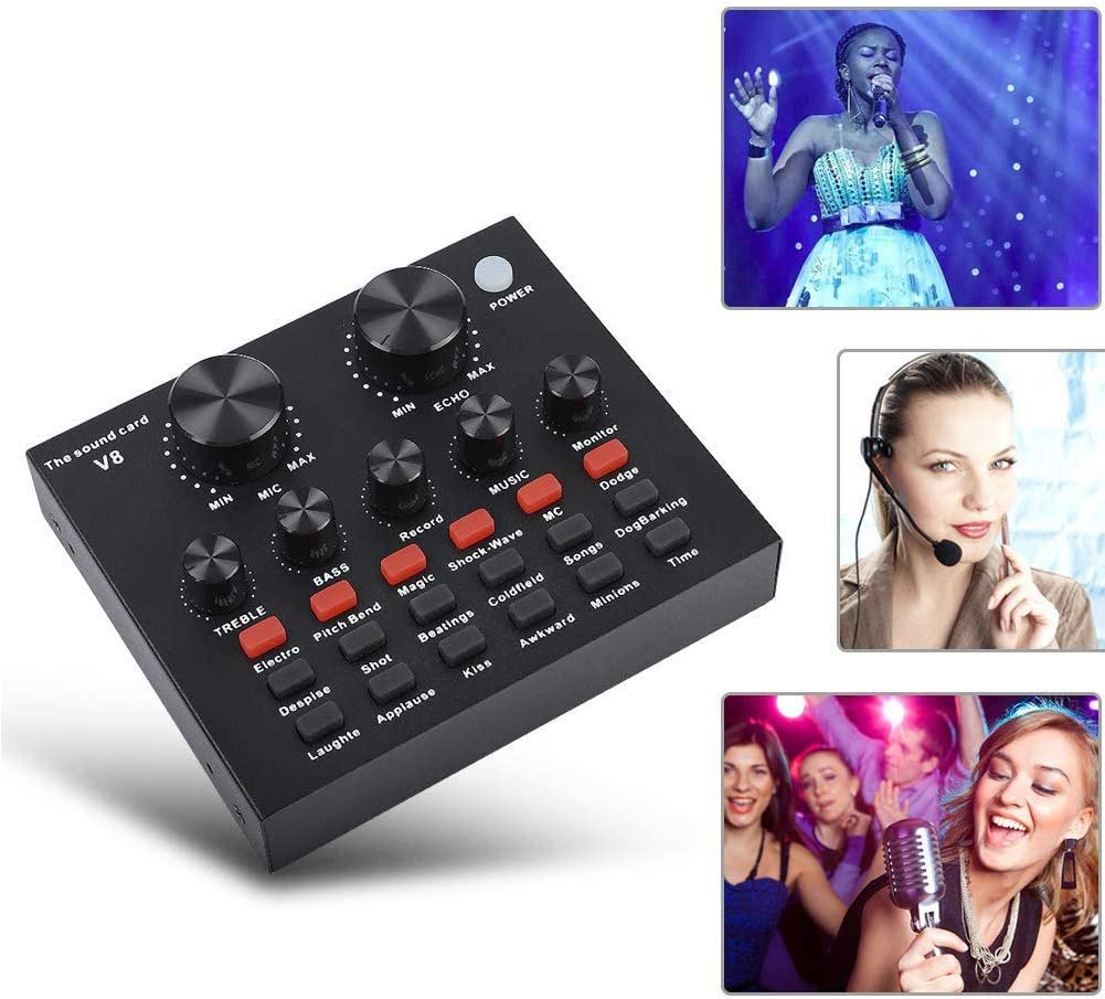 V8-Live Sound Card Audio Mixer USB External Sound Card Headset Microphone Live Sound Card Karaoke for Double Cell Phone Live Computer PC Live Recording Home KTV Voice Chat