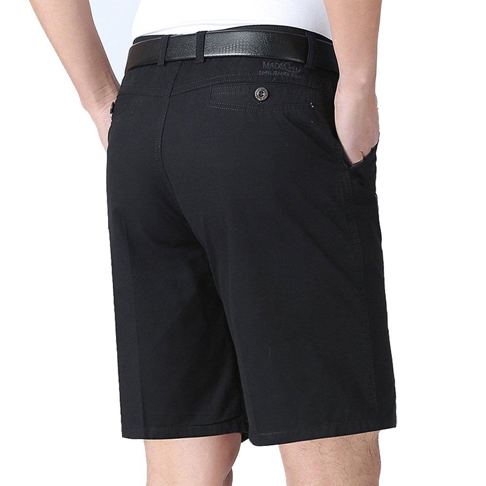 IDEALSANXUN Mens Classic-Fit Flat Front Summer Casual Shorts (Black, 34)