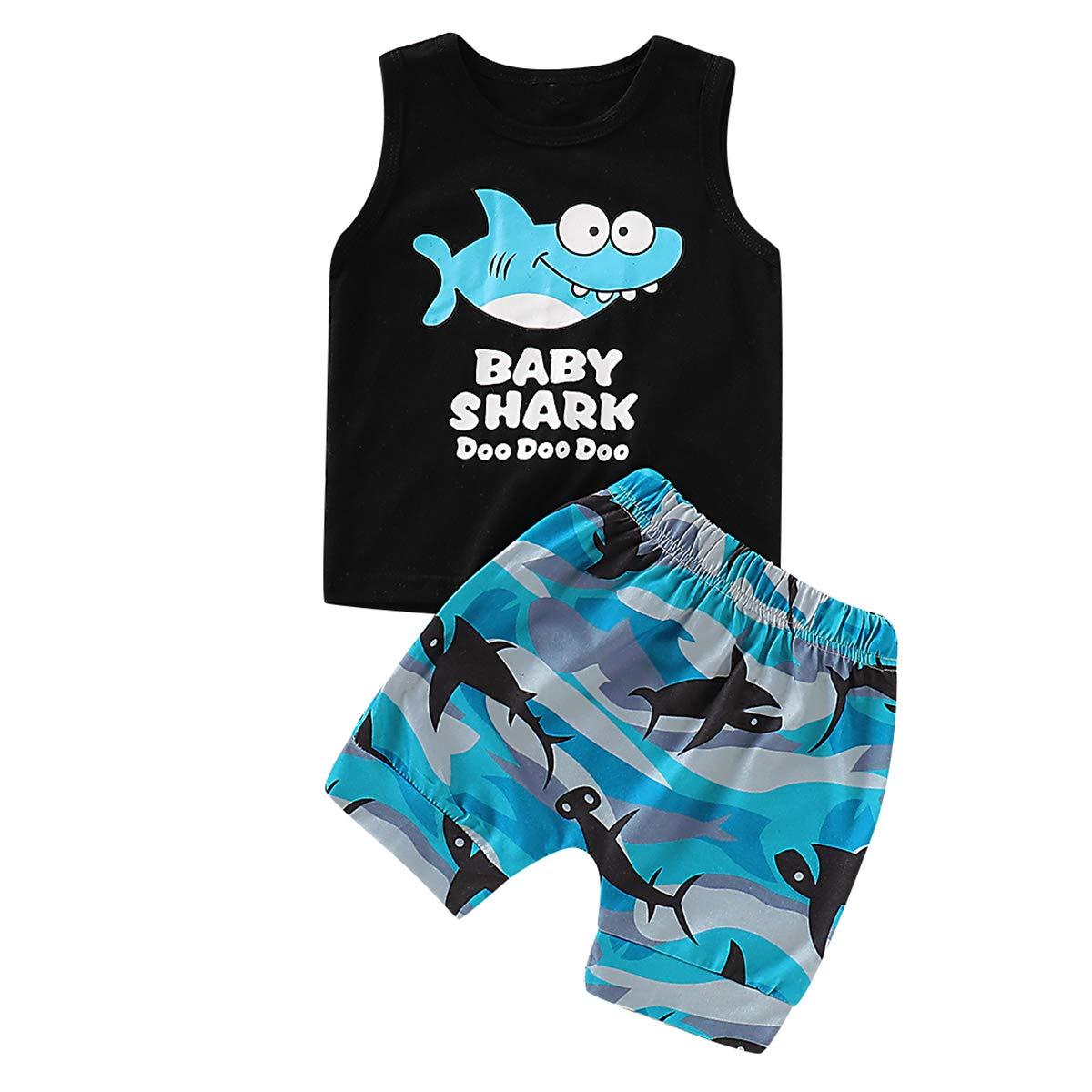 Shorts V/êtements D/ét/é Set Tianhaik 1-5Yrs Enfants B/éb/é Gar/çon Requin Imprim/é Outfit D/ébardeurs
