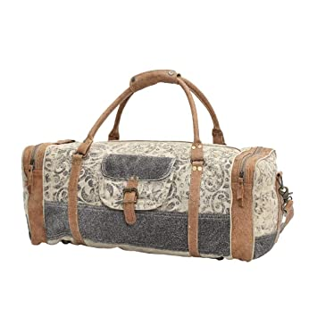 f1d880b7c4b2 Myra Bag Floral Upcycled Canvas & Cowhide Leather Travel Bag S-0999