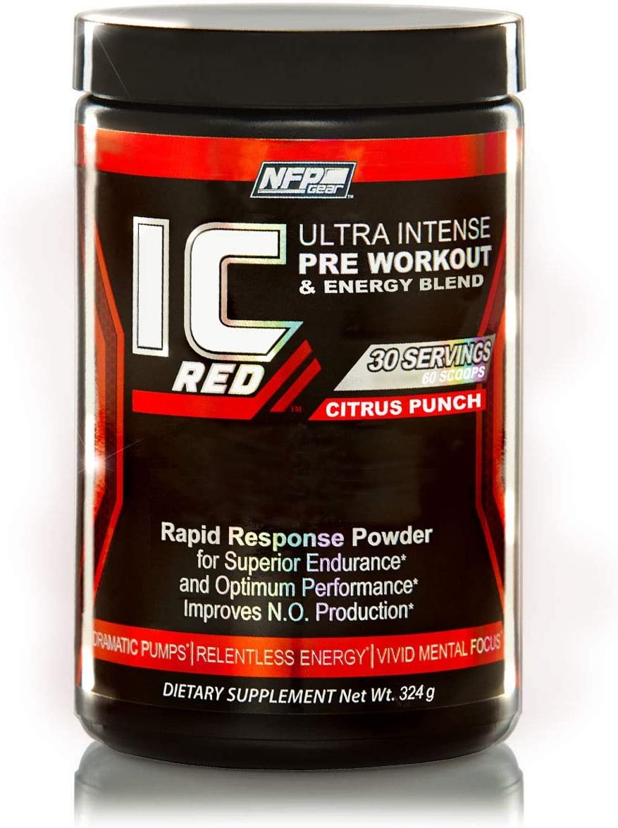 NFP Gear IC Red Ultra Intense Pre-Workout Energy Blend Nitric Oxide Booster – 30 Servings – Citrus Punch Flavor
