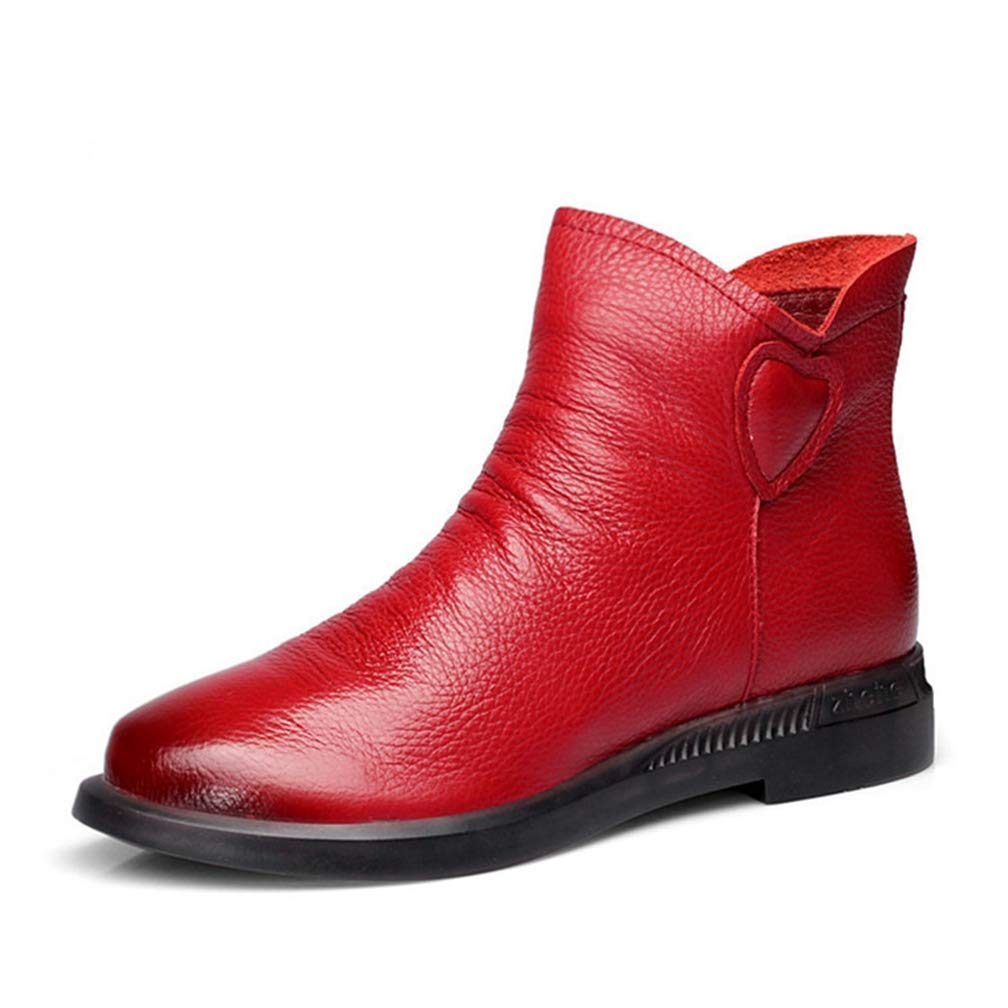 Faux Leather Women Ankle Boots Spring Autumn Flats Ladies Boot Black Red Ankle Boots for Woman Shoes Boot