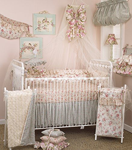 (Cotton Tale Designs Tea Party 8 Piece Nursery Crib Bedding Set - 100% Cotton Shabby Chic - Soft Colorful Vintage Floral and Paisley with Ruffle and Rose Bud Fur - Baby Shower Gifts for Girls)