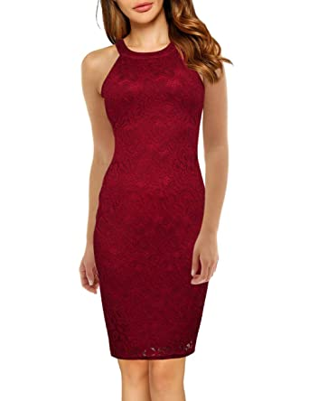 7e51b02897e Yesfashion Women s Sleeveless Halter Lace Cocktail Bodycon Pencil Dress  Burgundy S