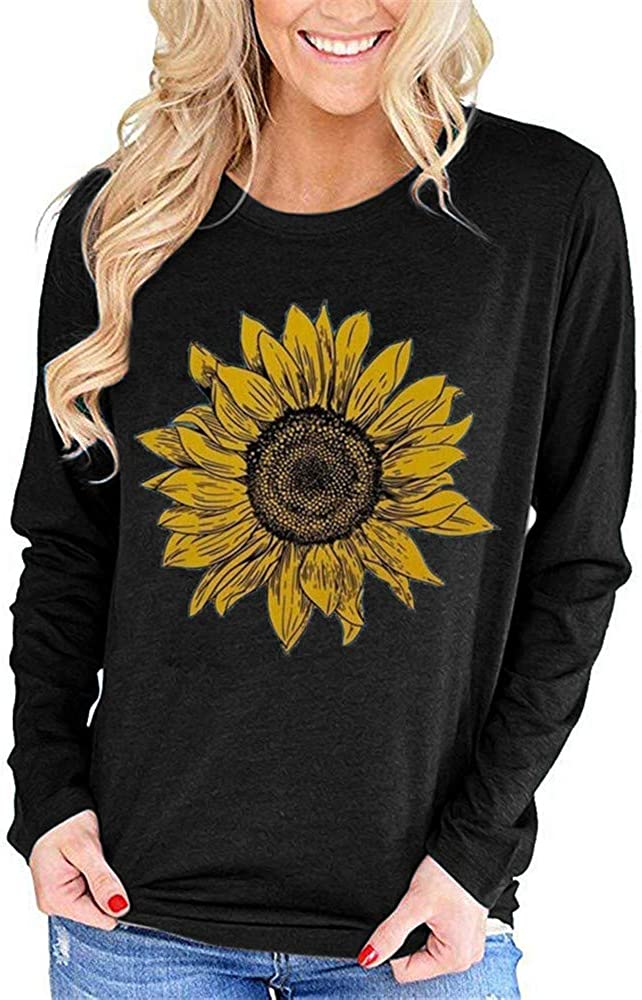 Pfvkeree Women's Long Sleeve T Shirt Sunflower Print Cute Funny Graphic Tees Casual Cotton Tee Tops