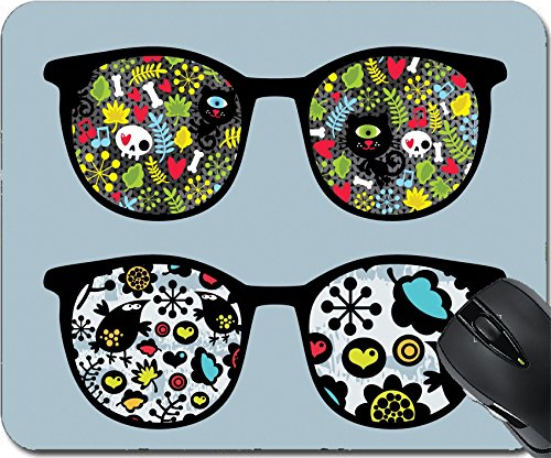 MSD Natural Rubber Mousepad Mouse Pads/Mat design: 13107796 Retro sunglasses with cats and birds reflection in - Freak Sunglasses