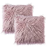 SunMoon Pack of 2 Throw Pillow Covers, Decorative Super Soft Plush Faux Fur Cushion Cover Case for Couch Home Decor, 18'' x 18'' 45cm x 45cm (Purple)