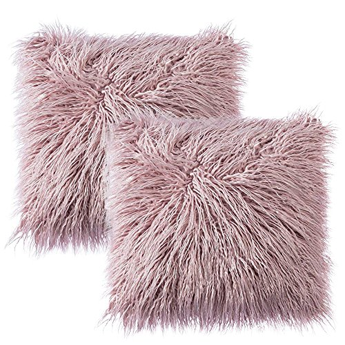 Ojia Pack of 2 Decorative Faux Fur Throw Pillow Cover Soft Plush Mongolian Cushion Case (18 x 18 Inch,Pink Lavender) ()