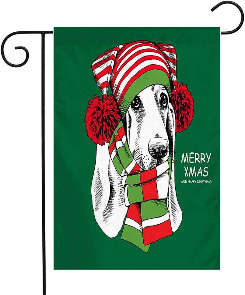 Pansyhome Welcome Garden Flag Vertical Green Adorable Christmas Basset Hound Dog Animals Wildlife Accessories Holidays Red Celebration Yard Outdoor Decorative 12 x 18 Inch