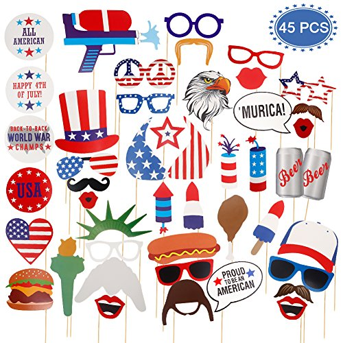 ThinkMax 4th of July Photo Booth Props, 45 Pack Patriotic Party Supplies, American Independence Day Party Decorations