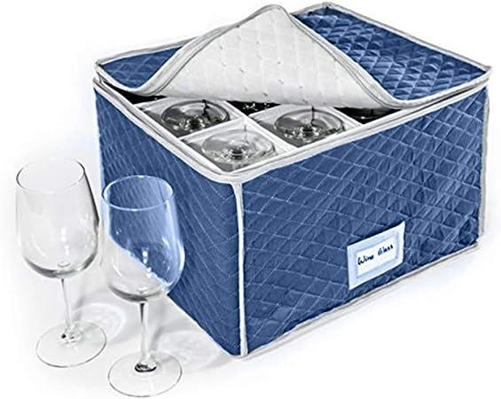 HANSHI HGJ974 - Estuche de almacenamiento para copas de vino o copas de vino, capacidad para 12 copas de vino o champán 15.7