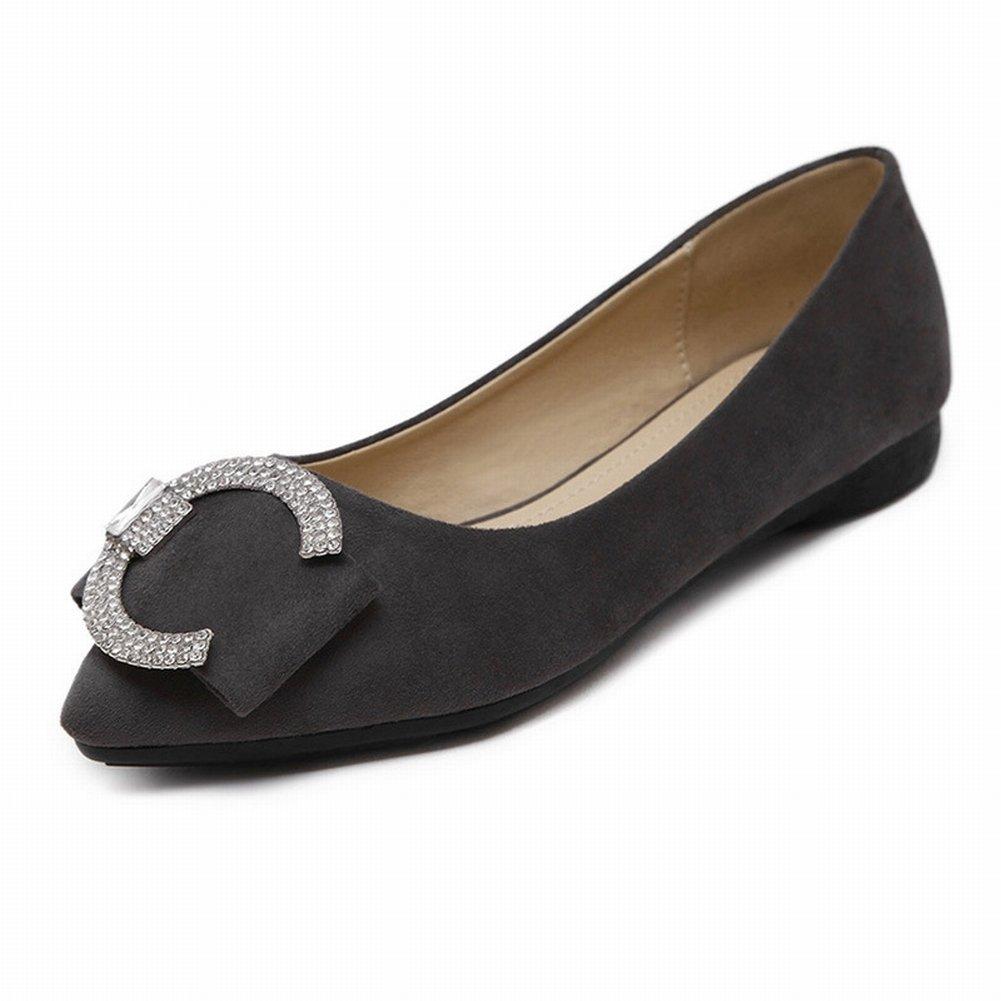 Single Schuhe Weiblich Allgleiches Quadrat Schnalle Spitz Flach Mund Flachen Boden Flach Karriere Freizeitschuhe , dunkelgrau , EUR37
