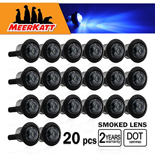 (Pack of 20) Meerkatt 3/4 inch Round Smoked Lens Blue LED Special Generation Small Bullet Clearance Lamps Waterproof Side SMD Marker Indicators Lights Universal Truck Boat Camper Trailer ATV 12V DC