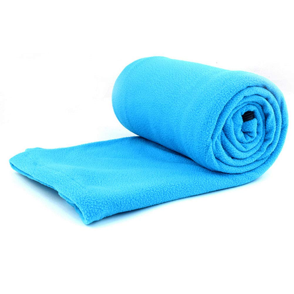 Xiton Fleece Sleeping Bag Liner Adult Warm Full Sized Zipper Backpacking Blanket for Outdoor Camping or Indoor Used with Sack Blue