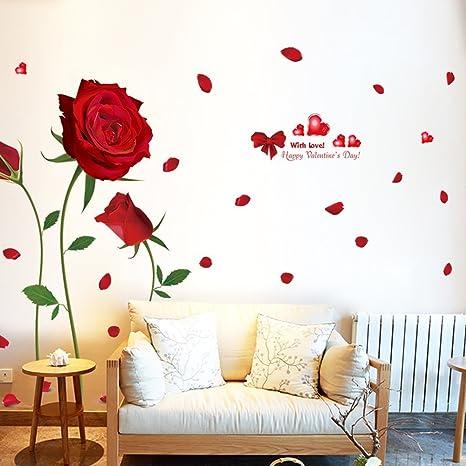 Grandes Rosas Románticas Rojas Pegatinas de Pared para Parejas con Letras de Palabras de Saludo de