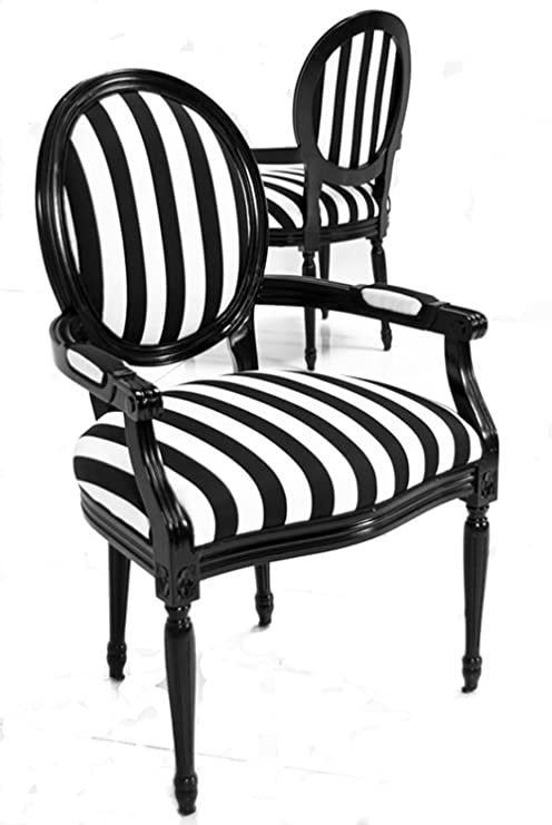 Amazon.com: Luxe muebles blanco y negro rayas Louis XVI ...