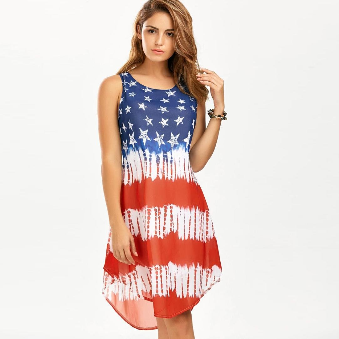 DAYLIN Newest Clearance Womens Ladies Loose Sleeveless American Flag Print Chiffon Tank Dress Seaside Casual: Amazon.co.uk: Clothing