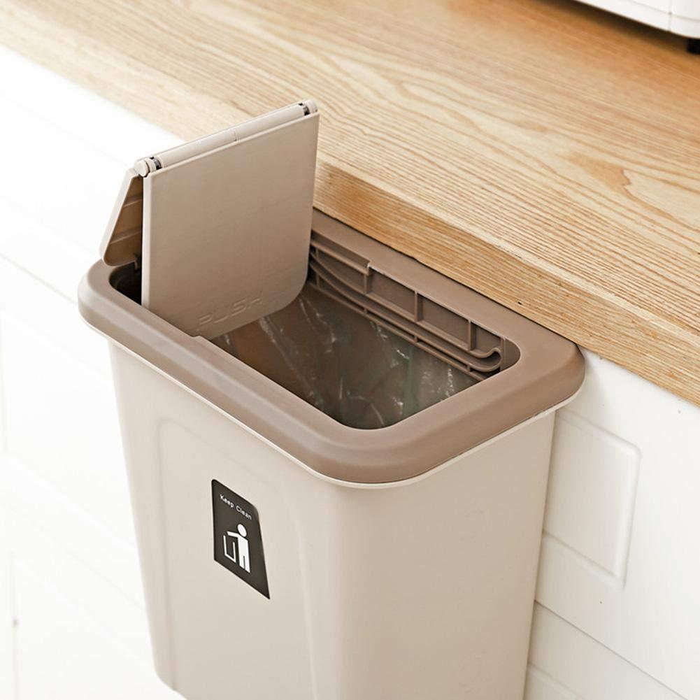 Recipiente para cocina para recoger las basuras Mini cocina Bote de basura colgado Contenedor de basura de alimentos gabinetes Empuje el recipiente Caja de organizador de almacenamiento de cocina de p