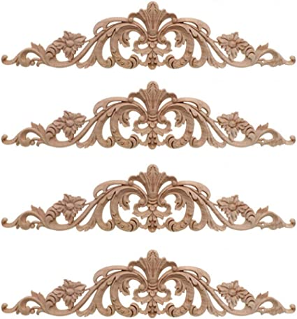 aplique de madera Aplique de talla de madera Aplique de talla de madera para decorar la decoraci/ón de la puerta de la 2 piezas de madera de goma vintage para decoraci/ón del hogar