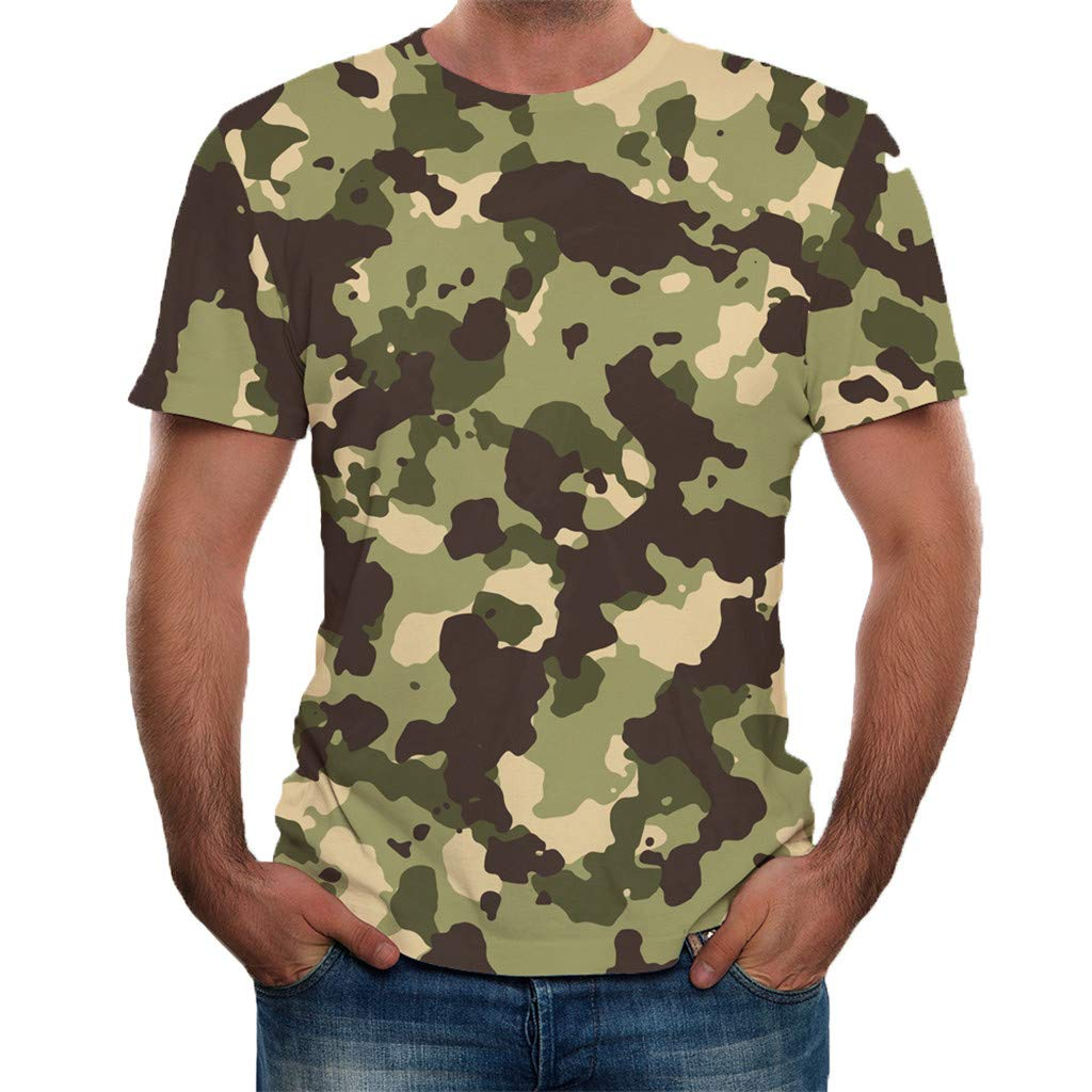 Shirt for Men F/_Gotal Mens T-Shirts Summer Short Sleeve Fashion 3D Printed Loose Fit Casual Sport Tees Blouse Tops