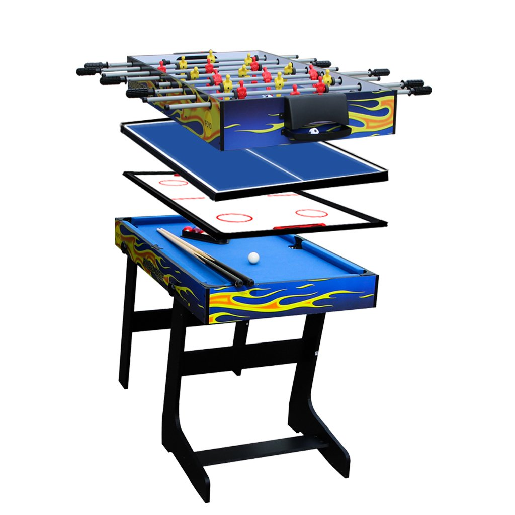 IFOYO Multi Function 4 in 1 Combo Game Table, Steady Soccer Foosball Table, Pool Table, Hockey Table, Table Tennis Table, Yellow Flame, 4FT, Ideal Christams Gift by IFOYO
