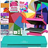 "Silhouette Teal Cameo 3 Bluetooth Heat Press T-Shirt Bundle with 9""x12"" Pink Heat Press, Siser Vinyl, Swatch Book, Guides, Class, Membership and More"