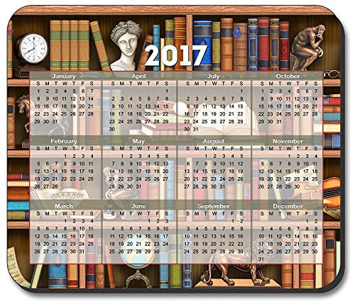 Books in Library Mouse Pad - with 2017 Calendar
