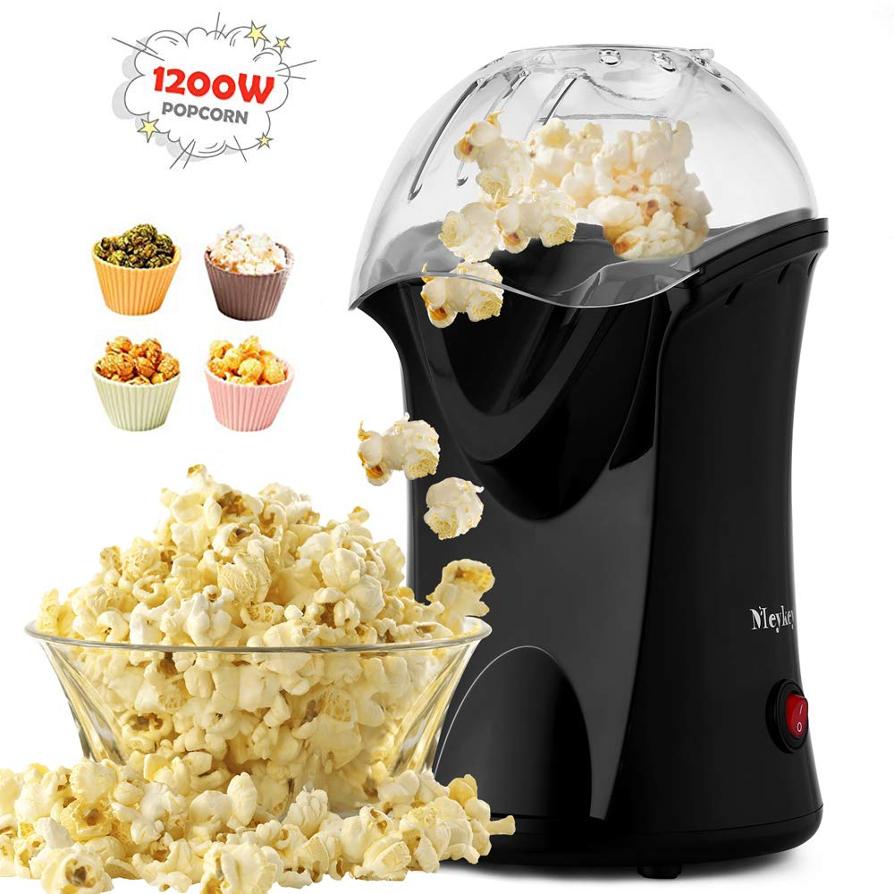 Hot Air Popcorn Popper With Wide Mouth Design,1200W 60Hz Popcorn Maker,With Butter Warming Measureing Cup, Popping Chute Design Easy To Cleanup