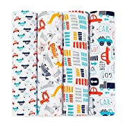 aden + anais Zutano Swaddle Baby Blanket, 100% Cotton Muslin, Large 47 X 47 inch, 4 Pack, Fairground