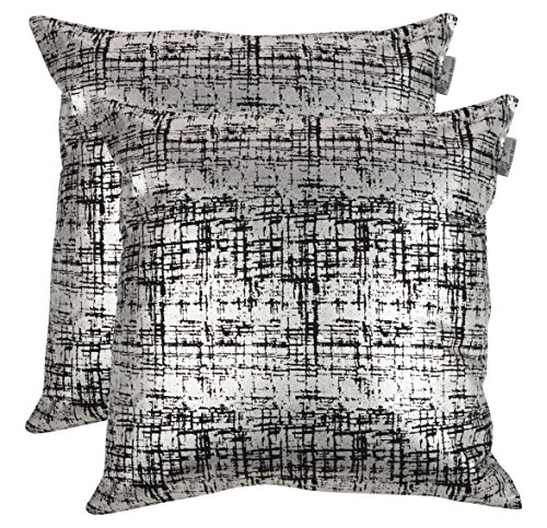 ACCENTHOME 100% Cotton Canvas Square Foil Printed Cotton Cushion Cover,Throw Pillow Case, Slipover Pillowslip for Home Sofa Couch Chair Back Seat,2pc Pack 18×18 in Mash – Silver Foil Print