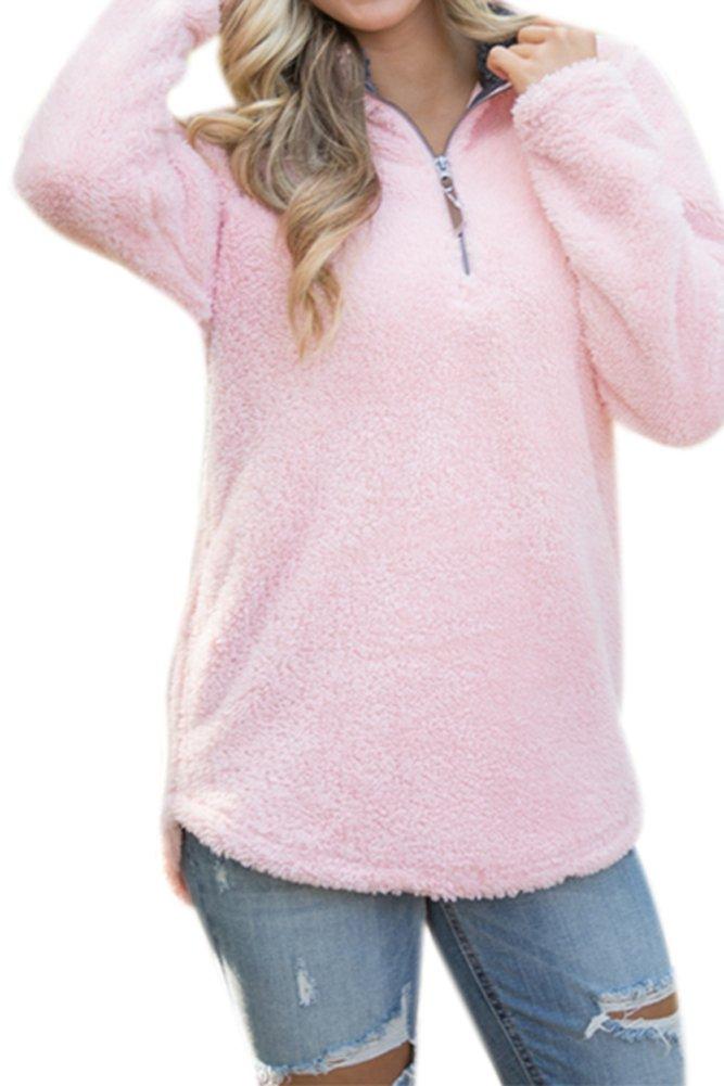 Women's Casual Fleece Solid Pullover Top Zip Outwear Sherpa Sweatshirt with Pockets Pink XL by Spadehill (Image #3)