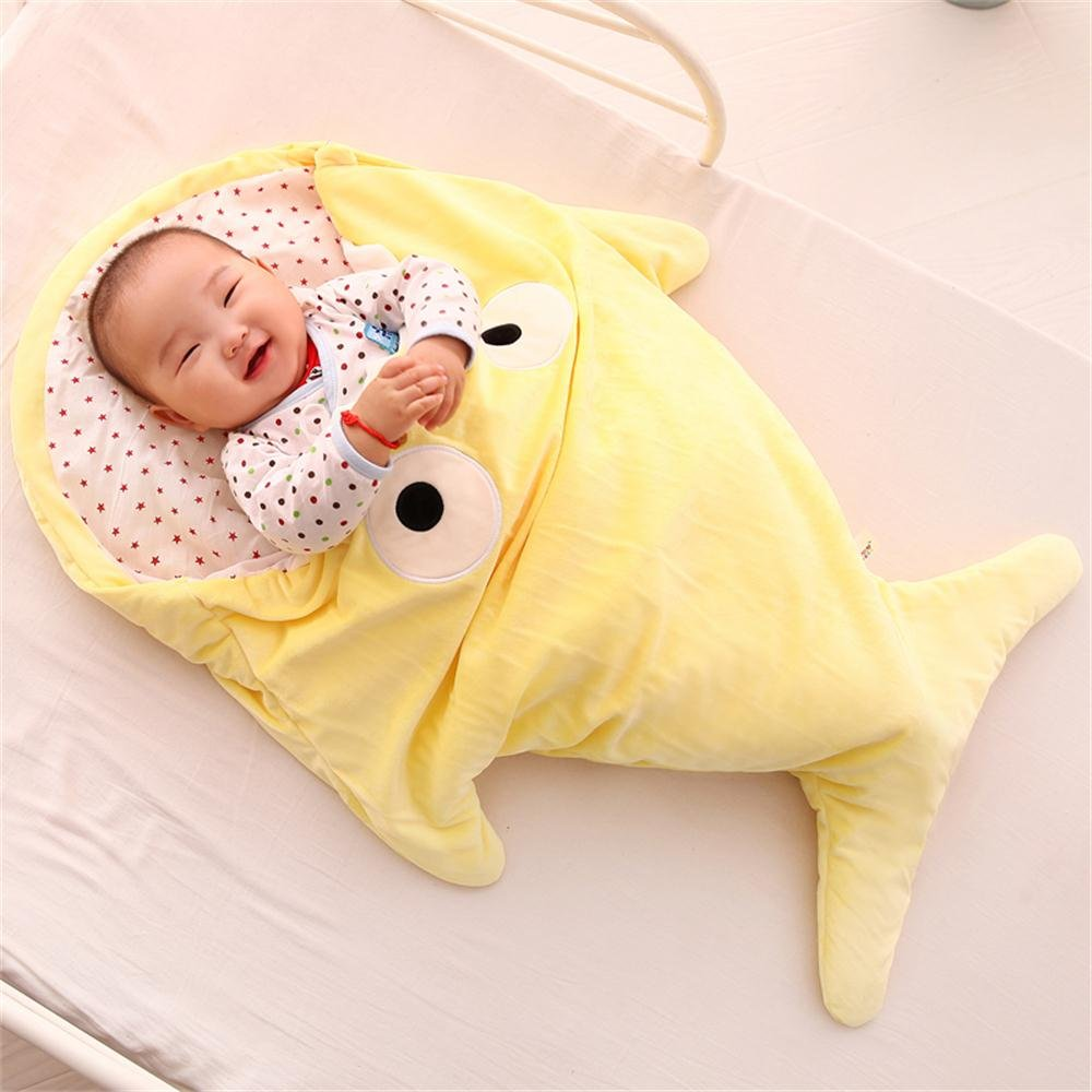 Infant Shark Sleeping Bag,Kosbon Baby Cute Blanket Used in Outdoor Stroller or Air-conditioned Room Summer/Winter Dual Use (Yellow)