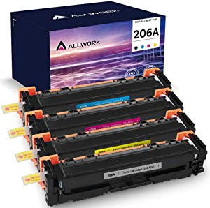 Allwork Compatible Toner Cartridge Replacement for HP206A W2110A for use with HP Color Laserjet Pro M255dw, M283fdw, M283cdw, M282nw Series Printer (Black Cyan Yellow Magenta, 4 Pack)