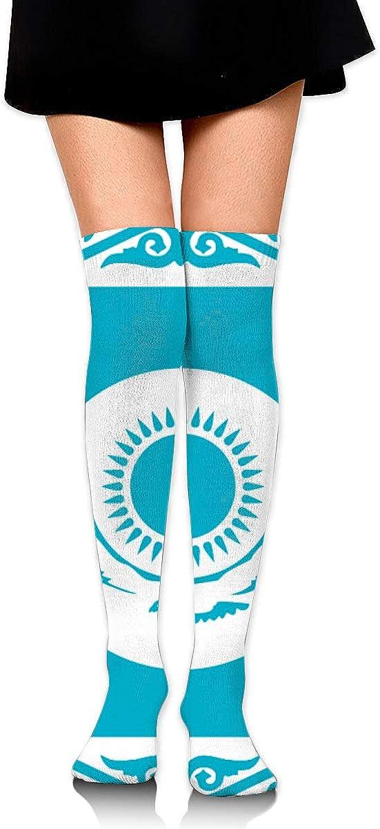 Dress Socks Kazakhstan Flag High Knee Hose Novelty Hold-Up Stockings For Hiking