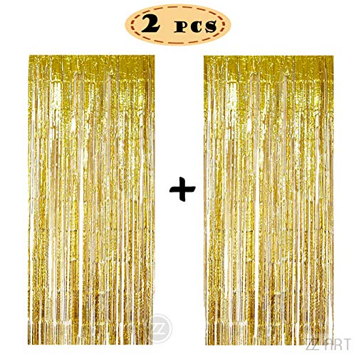 Gold Shimmer Curtains (ZZArt 2 Pcs 3.2 ft x 9.8 ft Silver/Gold Foil Fringe Curtains Shimmer Curtain for Party Decorations (Z24))