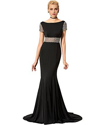 Lily Wedding Womens Beaded Mermaid Prom Dresses 2018 Long Formal Evening Party Ball Gowns TB29 Black