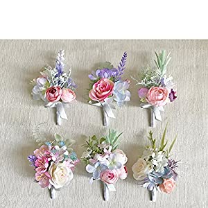 Yokoke Artificial Succulent Boutonniere Bouquet Corsage Wristlet Vintage Silk Fake Pink Rose Peony Unicorn Color Flowers Flocked Plants For Groom Bride Wedding Decor 1 Pc 58