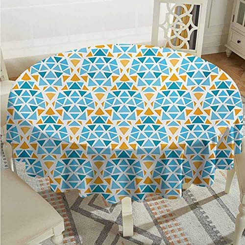 XXANS Spillproof Tablecloth,Yellow and Blue,Diamond Shaped Triangle Geometric Fractal Mosaic Traditional Motif,High-end Durable Creative Home,40 INCH,Aqua Teal Marigold