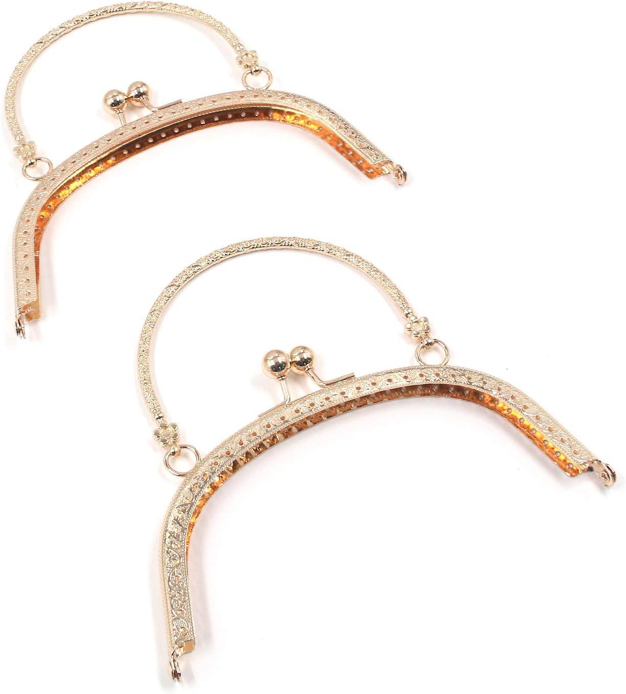 Healifty 6pcs Metal Purse Frames Handbag Coin Purse Kiss Clasp Locks Purse Making Supplies for DIY Craft Bag 85mm
