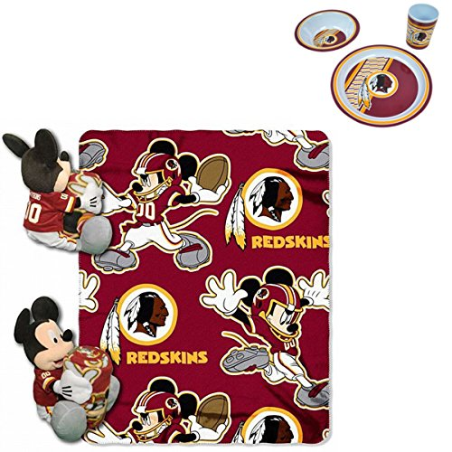 - Official National Football League and Disney Fan Shop Authentic NFL Mickey Mouse Hugger Stuff Toy, Blanket and 3-piece Dinner or Lunch Set Bundle (Washington Redskini)