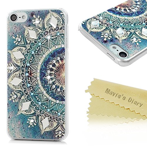 Mavis's Diary iPod Touch 6 Case 3D Handmade Bling Diamonds Blue Gradient Totem Lotus Crystal Clear Hard PC Case Shiny Sparkle Rhinestones Slim-Fit Bum…