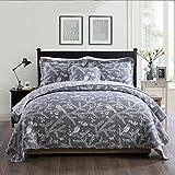 queen quilt birds - NEWLAKE Cotton Bedspread Quilt Sets-Reversible Patchwork Coverlet Set, Birds on Branches Pattern, Queen Size