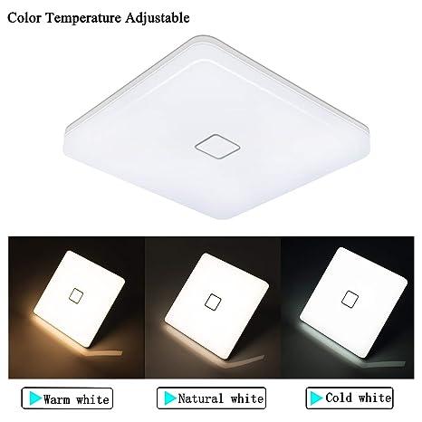 Öuesen Lamparas de Techo LED Modernas Delgado 24W Lampara Techo 2050LM Plafones led Cuadrado IP44 Temperatura de Color Conmutable Luz de Techo para ...