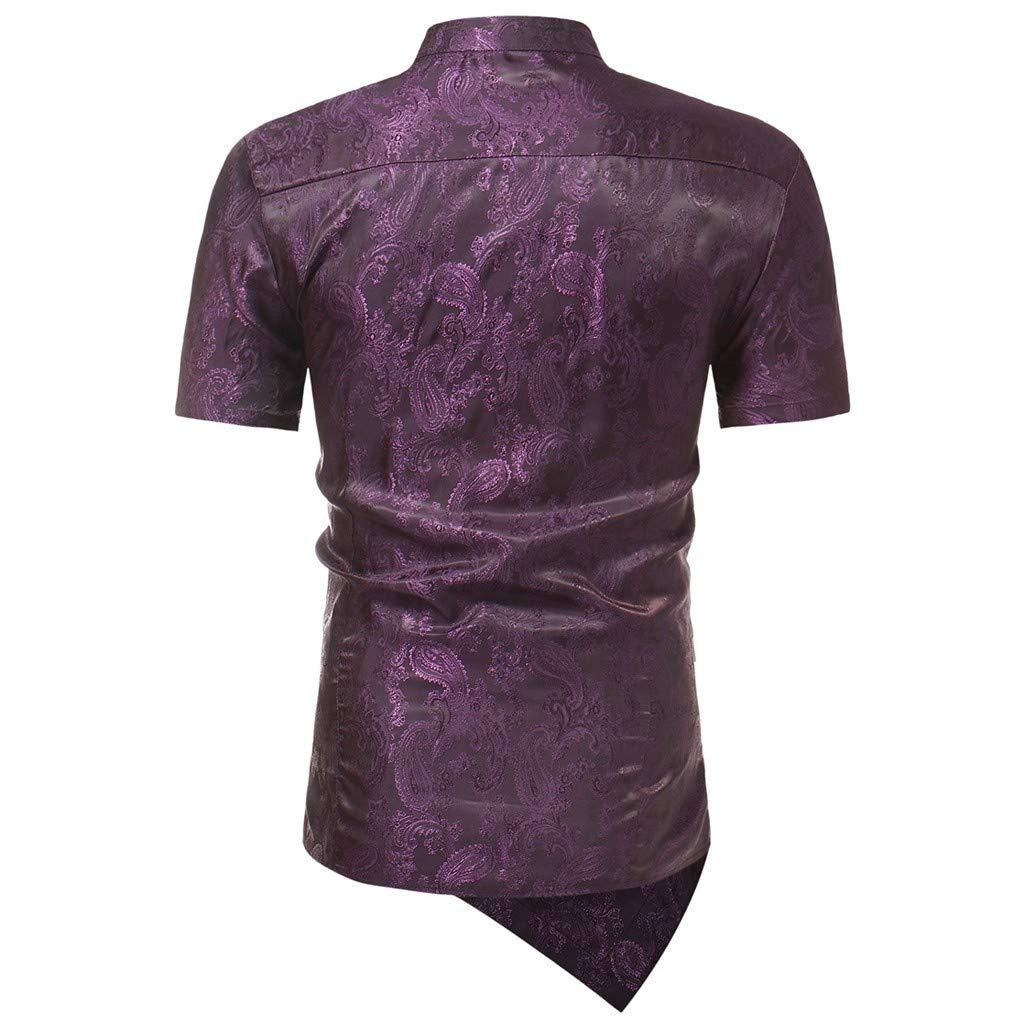 Men Shirt Slim Fit Short Sleeve Irraguler Printed Blouse Tee T-Shirt Casual Top
