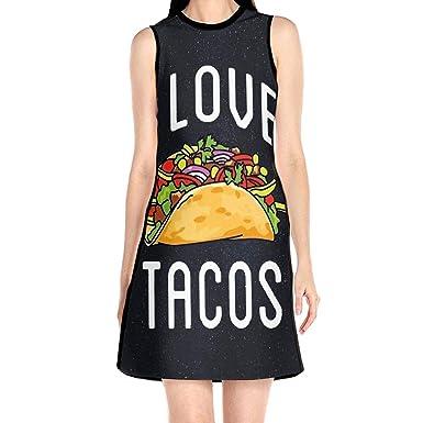 I Love Tacos Vestido sin Mangas de Comida Mexicana, Vestido Corto ...