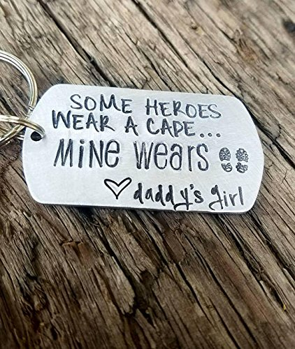 Personalized hand stamped daddy keychain. First fathers day gift. New dad keychain. Military dad gift. Deployment gift. Army dad keychain.