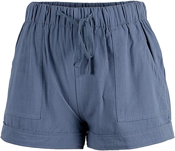 BUDERMMY Pantaloncini da Donna Casual Estivi Corti in Spiaggia Donna Elastici in Vita Shorts Sportivi